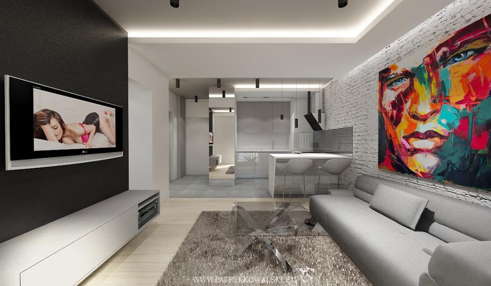Mieszkanie w Warszawie zaprojektowane przez architekta - widok z salonu